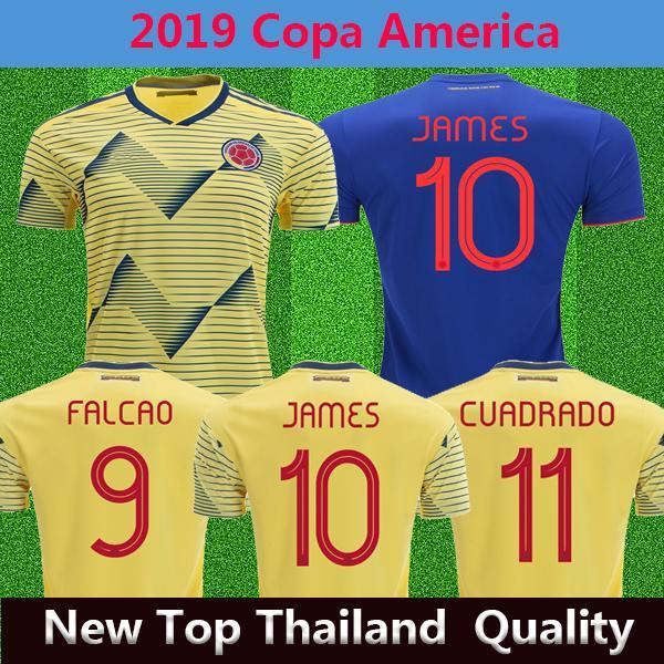 Kolombiya Copa Amerika 2019 futbol forması Ev sarı JAMES FALCAO Thai uzakta mavi Futbol üniforma Camiseta de futbol # 11 CUADRADO
