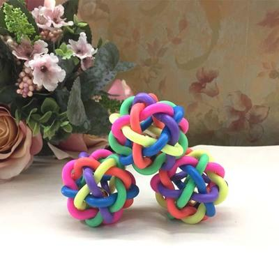 Pets Rope Bite Ball Toys Dog Chewing Balls Dog Cat Toy new Squeak Rubber Round Ball with Small Bell Toy Pet Accessories