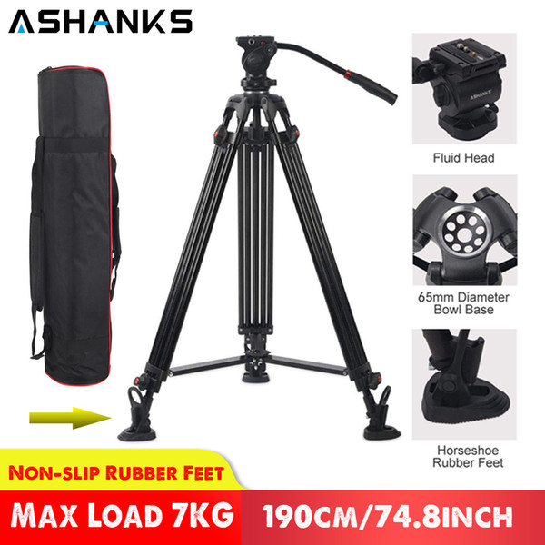 ASHANKS JY0508 0508A Professional for Camera Aluminum Tripod Stand DSLR Fluid Head Damping Tripods for Video Shooting