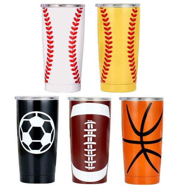 best selling 20OZ 30OZ Baseball Tumbler Mugs Softball Basketball Football Stainless Steel Cups Travel Car Beer Cups Vacuum Insulated Mugs 11style GGA3048