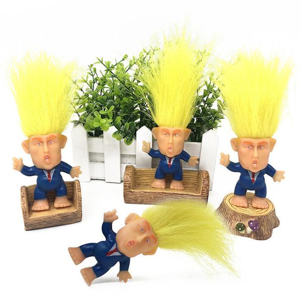 6cm Trump 2020 Eylem Doll Uzun Saç Suits Giyim Troll Doll Leprechauns Seçim kampanyası Başkanı Donald Trump Komik Modeli A61304 Şekil