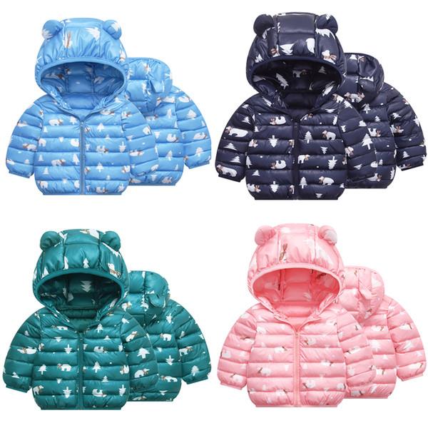 best selling Kids Xmas Down Hoodies Coats Cotton Cartoon Bear Zipper New Pressing Technology Toddler Boys Girls Winter Jacket Snow Coat 6M-5T 04
