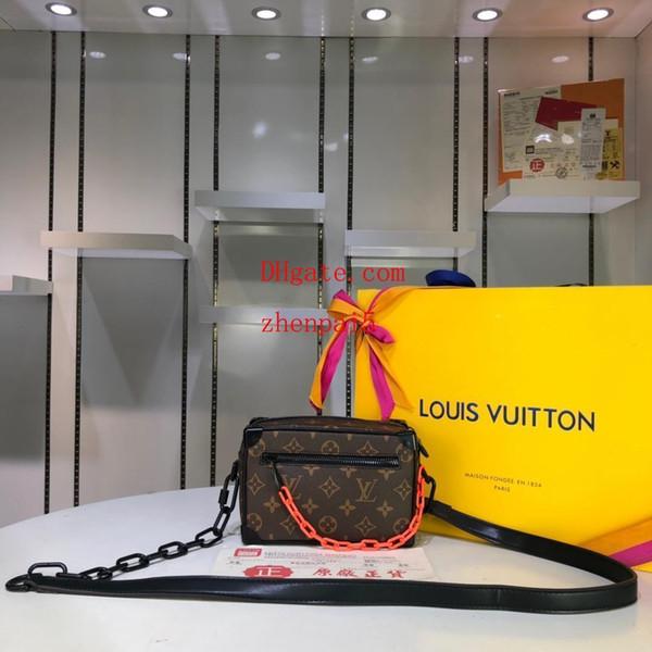 2019 большой емкости женские сумки наплечные сумки коричневая кожа с принтом ретро оранжевая цепочка аксессуары женский бренд кошелек qp-5