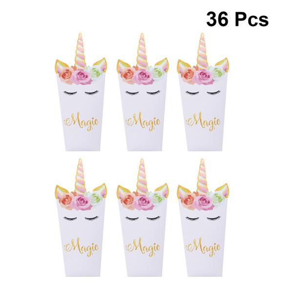36pcs Cartoon Rainbow Unicorn Popcorn Box Party Supplies Carton Paper Popcorn Boxes Snack Container Holder Kids Movie Theater