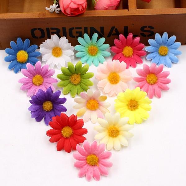 50 stücke Kleine Silk Sunflower Handmake Künstliche Blüte Hochzeit Dekoration DIY Kranz Geschenkbox Scrapbooking Handwerk Gefälschte Blume C18112601