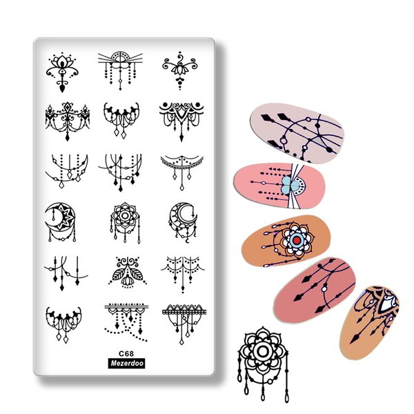 1Pcs Necklace Flower Pendant Design Nail Art Print Stencil Lace Rectangle Stamping Polish Template Manicure Nail Stamp Tools C68