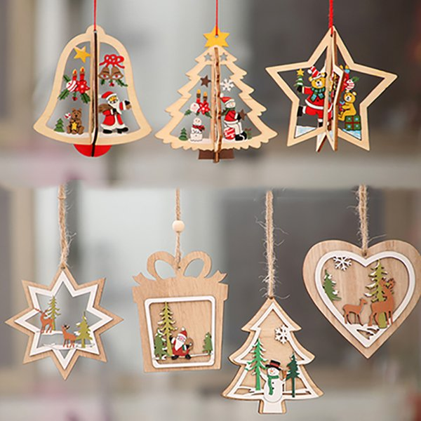 Christmas tree wood small pendant laser hollow five-pointed star bell snowflake snowman hanging colorful family holiday Christmas decoration