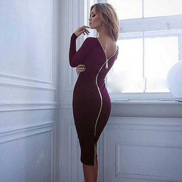 2019 Fashion Black Long-sleeved Banquet Dress Women's Back Full Zip Robes Sexy Female Pencil Tight Dress Wholesale