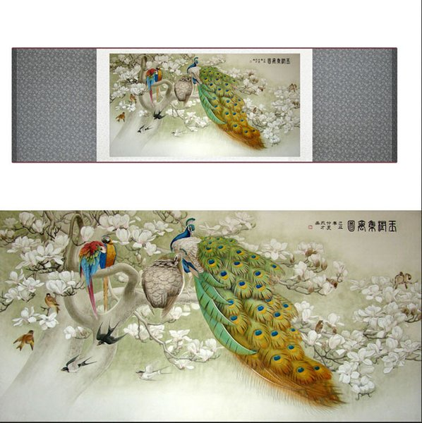Chinese Traditional Art Painting Birds In The Water Silk Scroll Painting Peacock Painting