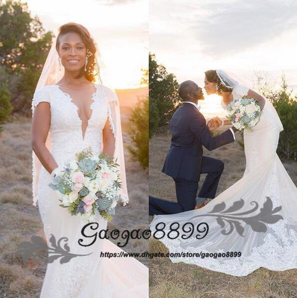 2019 Nigeria new cap Sleeve sheer V Neck Wedding Dresses African Mermaid Lace Sweep Train Country Style Bridal Gowns Custom made plus size