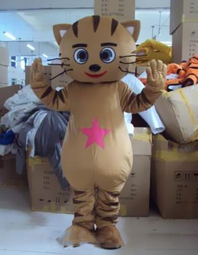 2019 sconto vendita fabbrica Cute Cat costume della mascotte Formato adulto Mascotte Kitty Brown Xmas Party Dress
