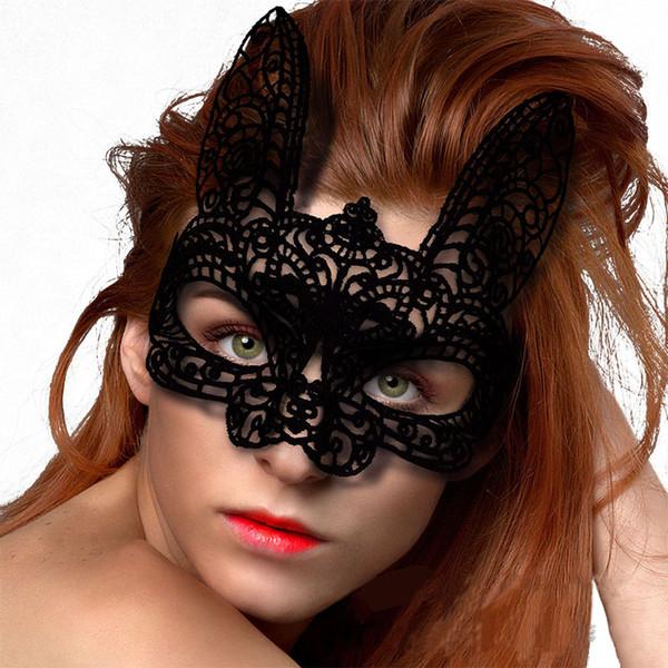 top popular Halloween Easter Festival Rabbit Nightclub Bar Dance Show Cute White Black Available Custume Accessories Half Face Bunny Ears Mask 2019