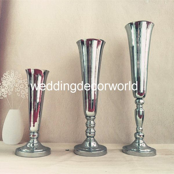 New style Gold Wedding Flower Vases 88cm Tall Table Centerpiece Metal Gold Silver White Flower Trumpet for Wedding Decoration decor710