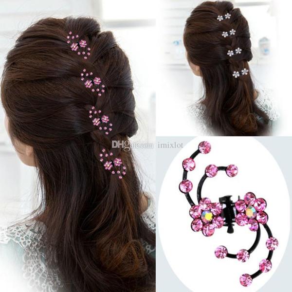 7 Sets Fashion Women Girls Rhinestone Crystal Flower Hair Clips Claws Bridal Hair Pins Jewelry Accessories 6 Pcs/Set