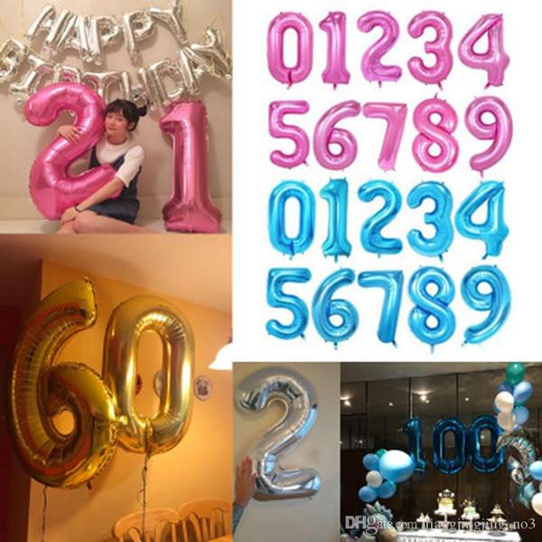40 polegadas balão de ar de hélio voar para cima número em forma de ouro prata azul preto balões infláveis aniversário decoração de casamento festa de evento eea26