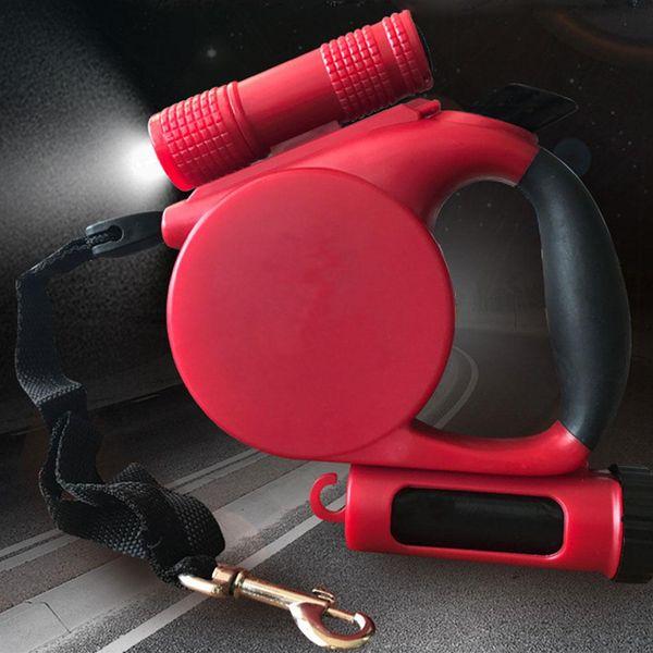 3 в 1 светодиодного фонарике выдвижного выдвижном поводке для собаки любимчика Автоматической свинцовой ремень гибкого тягового каната с мешком для мусора