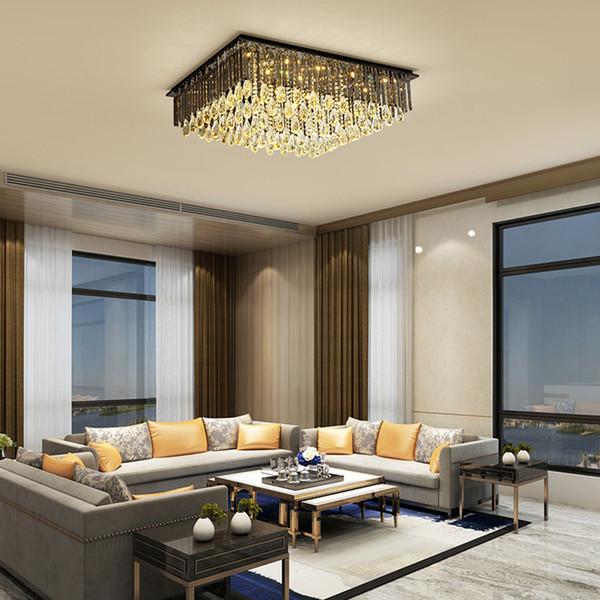 Moderne Kristalldecken Rechteck Kronleuchter Lichter Erröteneinfassung rauchig Luxus Kronleuchter Beleuchtung Deckenleuchten für Wohnzimmer Schlafzimmer geführt