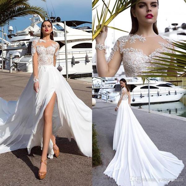 Sexy Thigh-High Slits Beach Wedding Dresses Sheer Jewel Neck Lace Appliques Long Sleeve Bridal Wedding Dress Vestidos De Mariee