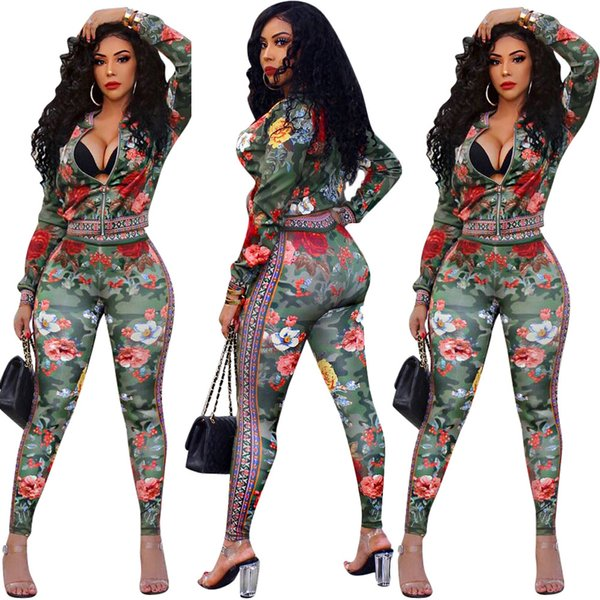 Foral Printed Jacket+pants Womens Two Piece Set 2019 Autumn Long Sleeve Sets Fashion Casual Zipper Ladies Suit