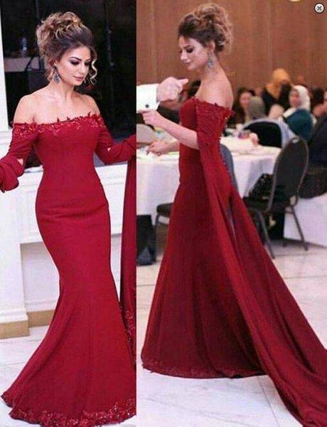 Compre árabe Rojo Oscuro Manga Larga Vestidos De Noche Apliques De Encaje Vestidos Formales Con Cuentas Vestidos Fiesta Vestido De Fiesta A 8443 Del