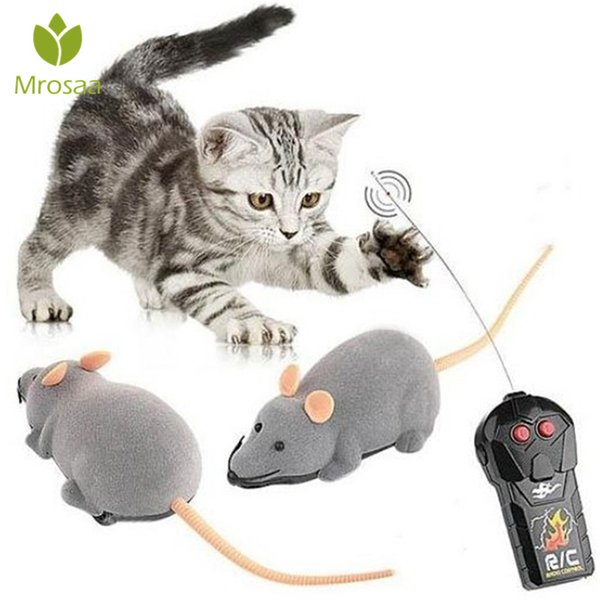 Creative Pet Toys Electronic Remote Control Mouse Pet Cat Dog Toy Lifelike Funny Flocking Rat Gift Toy For Cat Puppy Kids