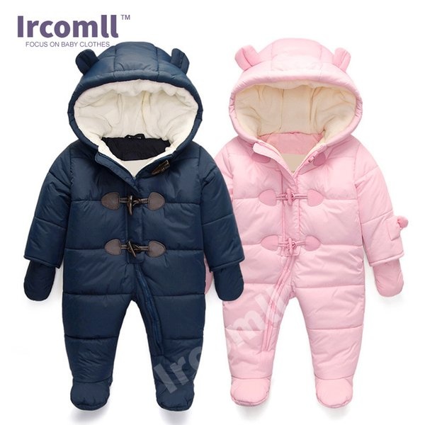 Lrcoml Keep Thick Warm Infant Baby Rompers Winter Clothes Newborn Baby Boy Girl Romper Jumpsuit Hooded Kid Outerwear For 0-24m J190712