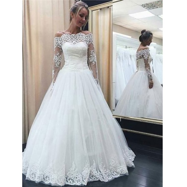 Discount Gorgeous A Line Off The Shoulder Long Sleeves Lace Wedding Dresses Princess Tulle Long Lace Up Bridal Gown Robe De Mariée Custom Made Wedding