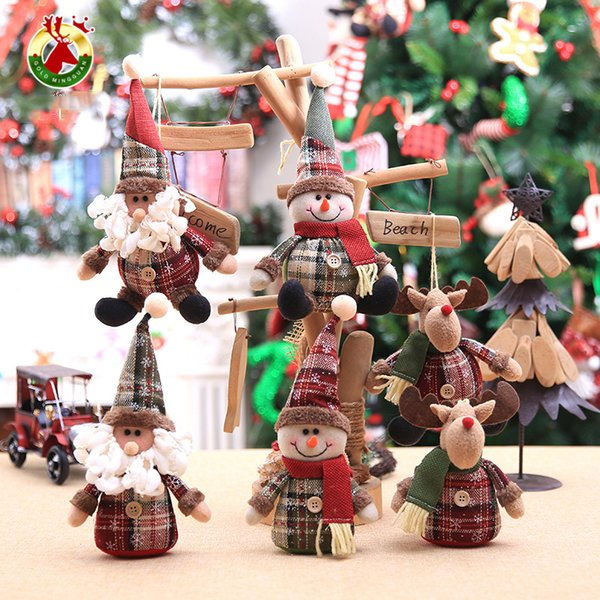 2019 Merry Christmas Tree Ornaments Christmas Decorations for Home New Year gift Children Snowflake Elk Plaid Doll Hanging Natal