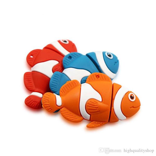 Real capacity Cartoon Fish Usb Flash Drive 32GB 64GB 128GB256GB Pen drive Gift Usb Stick