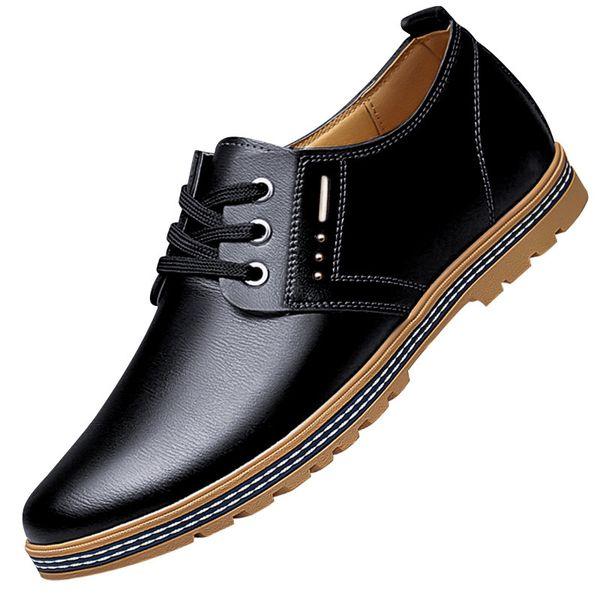 2019 Yeni Erkek Rahat deri Ayakkabı Yüksekliği Artış İngiliz Tarzı Sonbahar Moda Asansör Ayakkabı Lace Up Siyah Kahverengi Oxfords Erkek ayakkabı