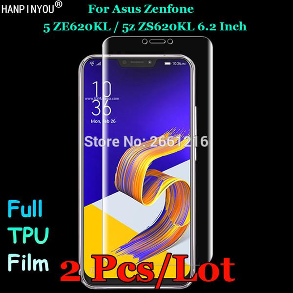 Asus Zenfone 5 5z Için 2 Adet ZE620KL / ZS620KL Ön İnce Tam Kapak Kenar Yumuşak TPU Filmi patlamaya dayanıklı Ekran Koruyucu Değil Cam