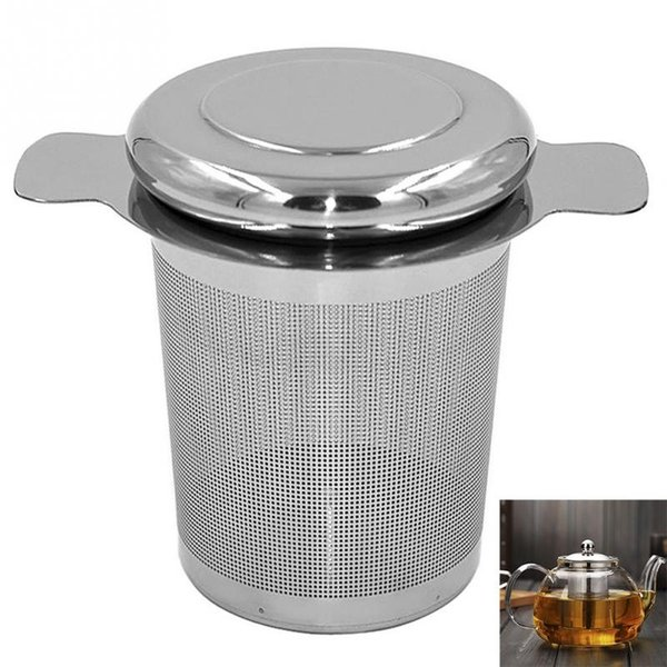 Lid Tea and Coffee Filters Fine Mesh Tea Strainer Reusable Stainless Steel Tea Infusers Basket with 2 Handles MMA2478