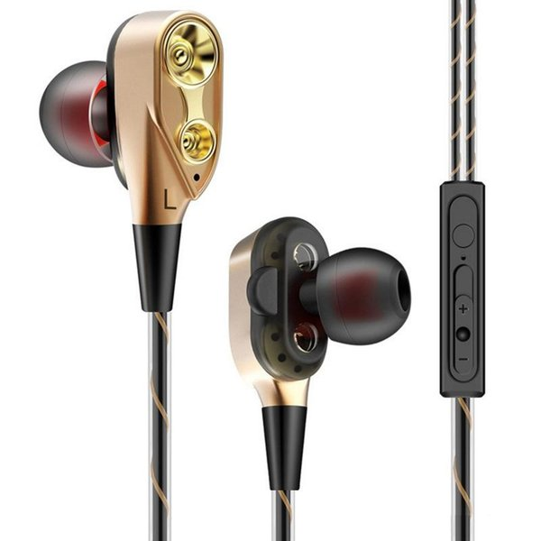 4 Altavoces Doble bobina móvil Doble dinámico Auricular con cable en la oreja MIC High-End Brand Headset 3.5mm TPE Enchufe Auriculares con cable