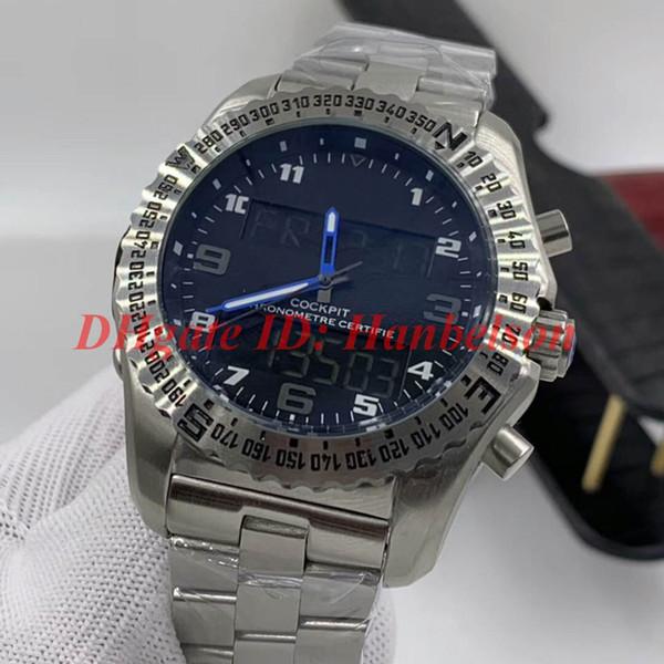 4.Black Cadran bleu Mains bracelet métal