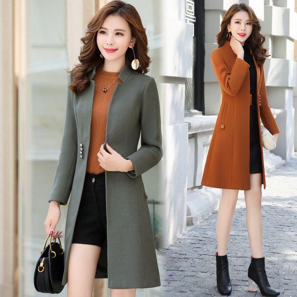 Office Lady Womens Long Coats 2018 Winter Mandarin Collar Wool Blend Coat and Jacket Single Breasted Ladies Coats