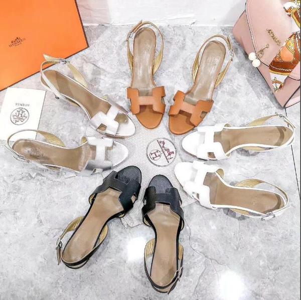 2019 toes Super Sandálias de salto alto das mulheres Impresso único Rebites tornozelo Buckle Strap Bombas Show de patchwork Sapatos de fundo Slugged L35-40-No box