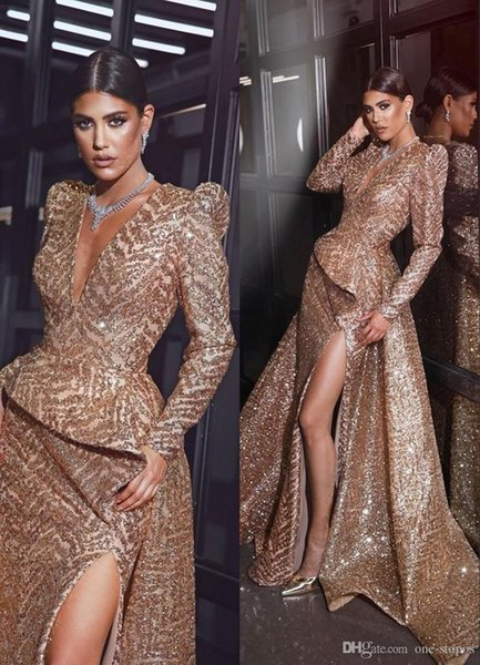 Champagne Deep V Neck Prom Evening Dresses Sexy Mermiad Sequins Long Formal Party Dress High Slit Pageant Gown Plus Size