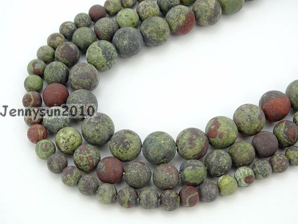 Natural Matte Dragon Bloodstone Gems Stone Round Spacer Beads 15.5'' 6mm 8mm 10mm for Jewelry Making Crafts 5 Strands/Pack