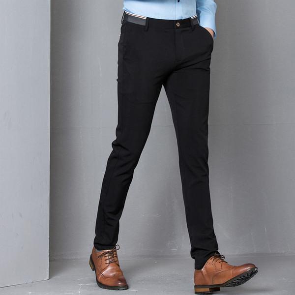 Noir Stretch Skinny Dress Pants Hommes Party Office Formel Hommes Costume Crayon Pantalon Affaires Slim Fit Casual Mâle Pantalon