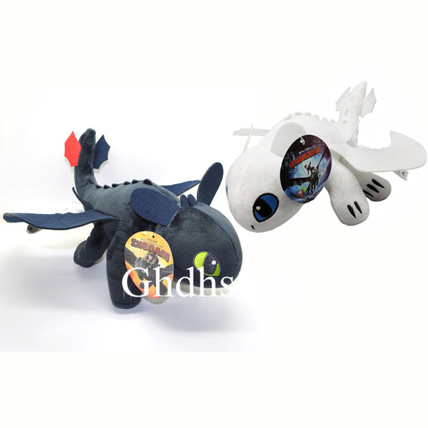 """Top New 2 Styles 10"""" 25CM Toothless Dragon Light Fury Night Fury Plush Doll Anime Collectible Stuffed Dolls Best Gifts Soft Toys"""
