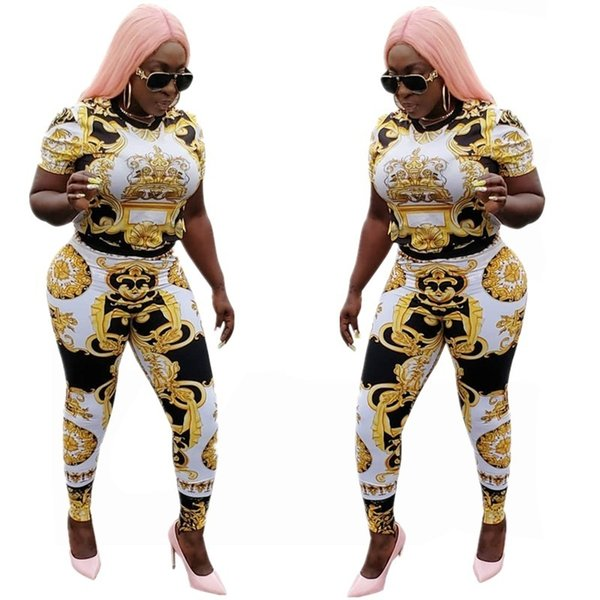 Gorgeous Gold Printed Sexy 2 Piece Set For Women O Neck Short T Shirts And Long Skinny Pencil Pants Summer High Street Suit A712 Y19042901