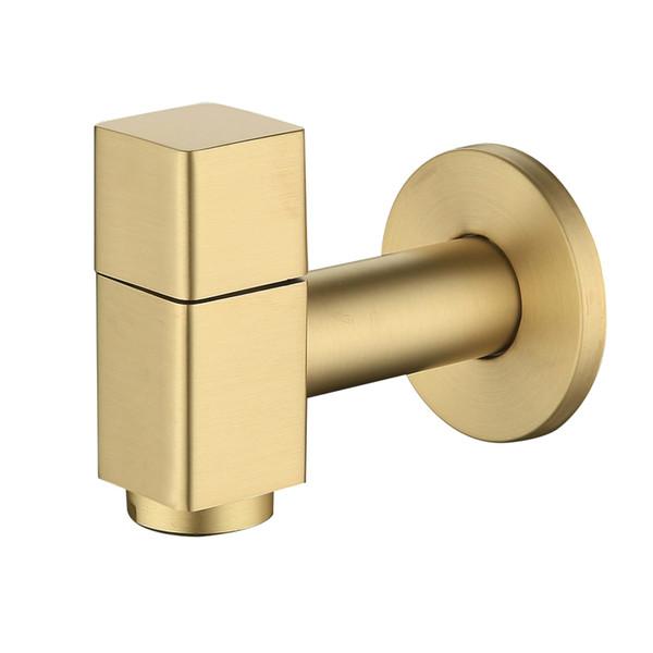 Bibcock fixé au mur de robinet de machine à laver, matériel de cuivre balayé or robinet de jardin extérieur de machine à laver le robinet petit robinet