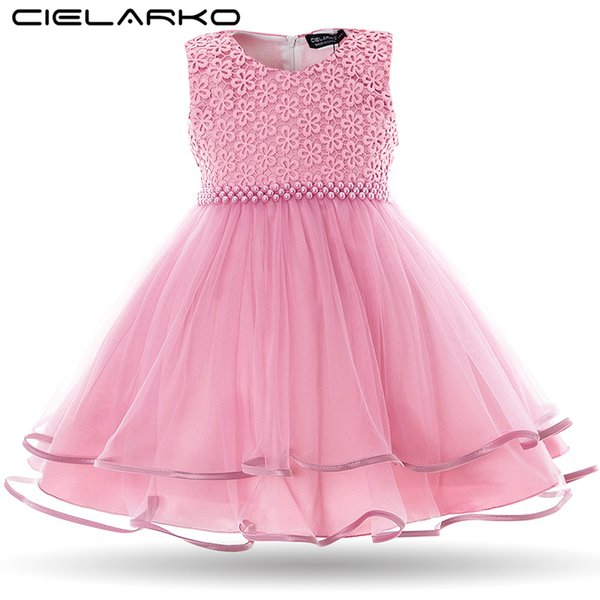 Cielarko Baby Girls Dress Pearls Infant Party Dresses Vintage Newborn Baptism Prom Gown Christening Frocks For Girl Q190518