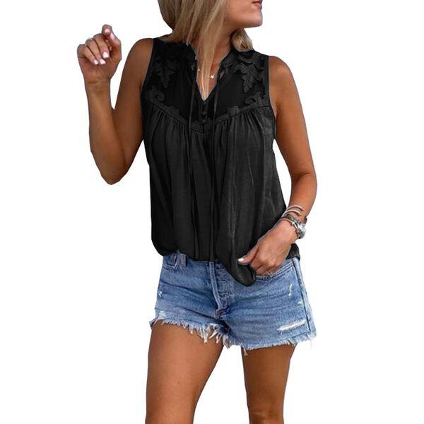 2019 neue europäische und amerikanische Frauen Nähte bestickt V-Ausschnitt ärmelloses Shirt T-Shirt coole Weste