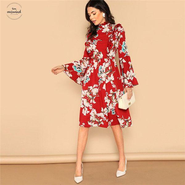 Détail de Bell manches volantées rouge imprimé fleurs taille haute mi-longues vacances Robe printemps 2019 femmes Robe élégante
