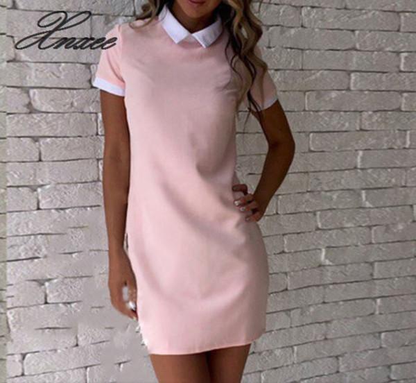 Сплошной цвет блока с отложным воротником Мини-платья Женщины Лето Дышащий шифон Повседневный платье онлайн