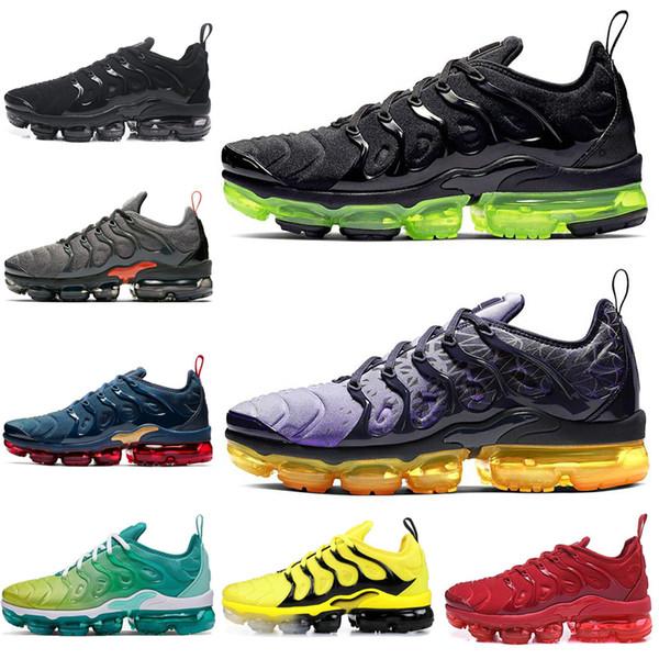 NIKE AIR VAPORMAX PLUS TN Artı Koşu Ayakkabı Kadın Erkek Üçlü Siyah Beyaz Obsidyen LEMON LIME LIME SPIRIT TEAL Erkek Eğitmenler Spor Sneakers 36-45