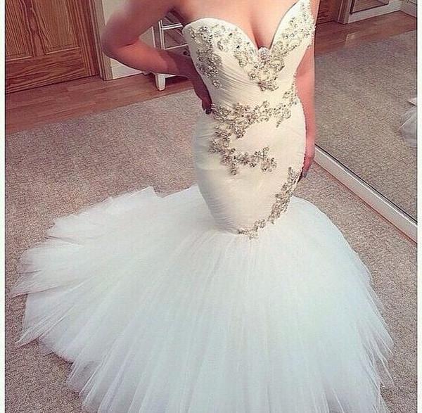 Neue Ankunft Meerjungfrau Brautkleider Hohe Qualität Perlen Applique Tüll Organza Hochzeit Brautkleid vestido de noiva