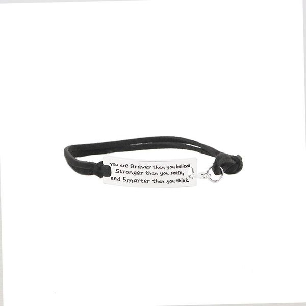You are braver than you believe stronger than seem and smarter think Bracelets letter Leather Velvet Bangles men