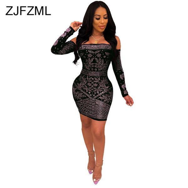 3e2ae6d5 Shiny Rhinestone Elegant Pencil Dress Women Black Off Shoulder Long Sleeve  Club Dress Summer Pink Slash